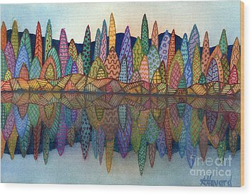 Lakeside Reflection Wood Print by Anne Havard
