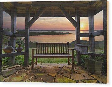 Lakeside Serenity Wood Print by Debra and Dave Vanderlaan