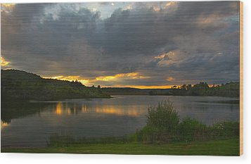 Lakeside Sunset Wood Print by Cindy Haggerty