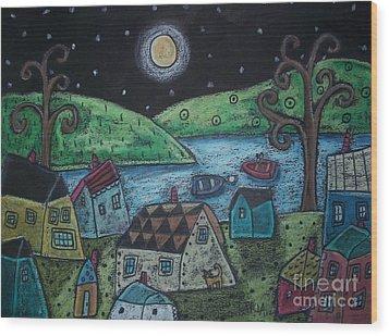 Lakeside Town Wood Print by Karla Gerard