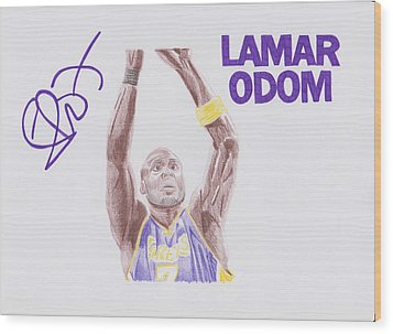 Lamar Odom Wood Print by Toni Jaso