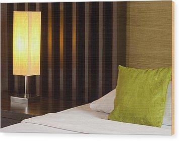 Lamp And Bed Wood Print by Atiketta Sangasaeng