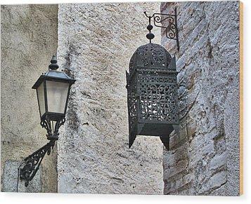 Lamp On Wall Wood Print by Jordi Sardà López