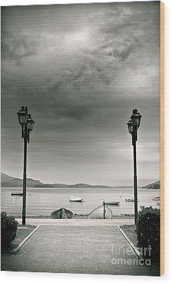 Lamps On Lake Wood Print by Silvia Ganora
