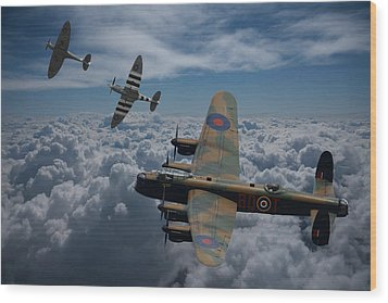 Lancaster Bomber And Spitfires Wood Print by Ken Brannen
