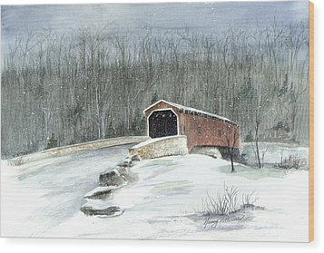 Wood Print featuring the painting Lancaster County Covered Bridge In The Snow  by Nancy Patterson