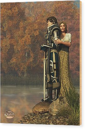 Lancelot And Guinevere Wood Print by Daniel Eskridge