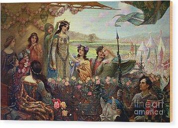 Lancelot And Guinevere Wood Print by Herbert James Draper