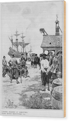 Landing Of 20 African Captives Wood Print by Everett