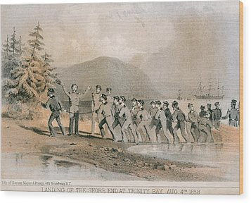 Landing Of The First Atlantic Telegraph Wood Print by Everett