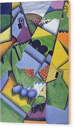 Landscape And Houses At Ceret Wood Print by Juan Gris