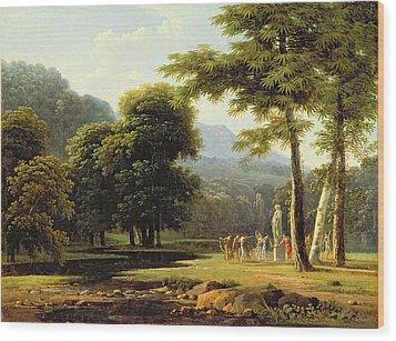 Landscape Wood Print by Jean Victor Bertin