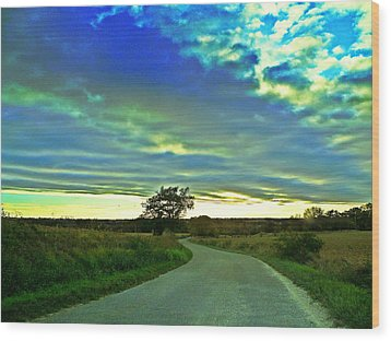 Landscape Mauvezin Wood Print by Sandrine Pelissier