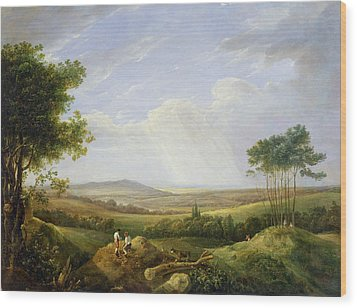 Landscape With Figures  Wood Print by Captain Thomas Hastings