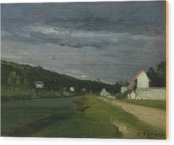 Landscape With Stormy Sky Wood Print by Camille Pissarro
