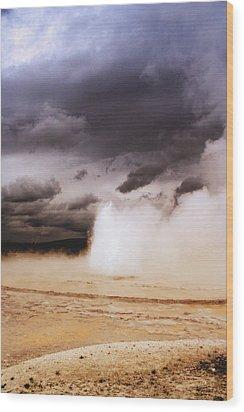 Landscapes Of Yellowstone - Great Fountain Geyser Wood Print by Ellen Heaverlo