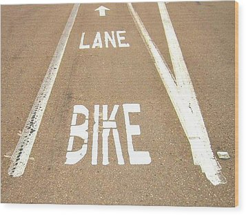 Lane Bike Wood Print by Jenny Senra Pampin