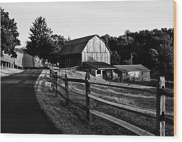 Langus Farms Black And White Wood Print by Jim Finch