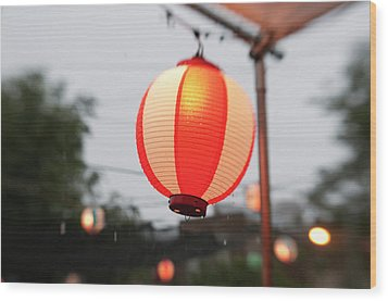 Lantern At Ginza Festival Wood Print by Seeing Is Believing.