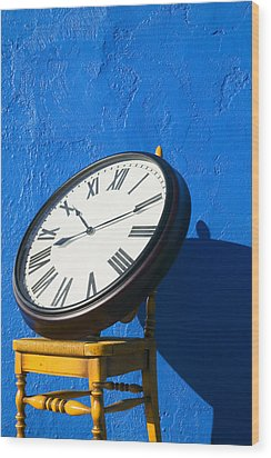 Large Clock On Yellow Chair Wood Print by Garry Gay