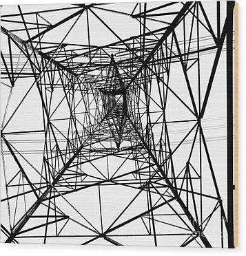 Large Electricity Powermast Wood Print by Yali Shi