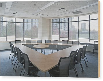 Large Empty Boardroom. A Long Narrow Wood Print by Marlene Ford