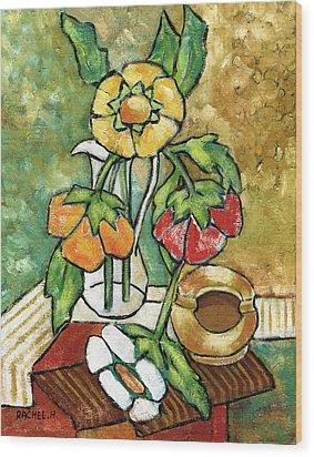 Large Flowers Wood Print by Rachel Hershkovitz