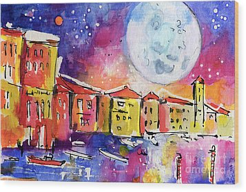 Large Moon Over Venice  Wood Print by Ginette Callaway