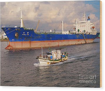 Large Oiltanker And Chinese Fishing Boat Wood Print