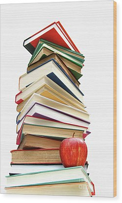 Large Pile Of Books Isolated On White Wood Print by Sandra Cunningham