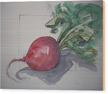 Large Radish Wood Print by Barbara Spies