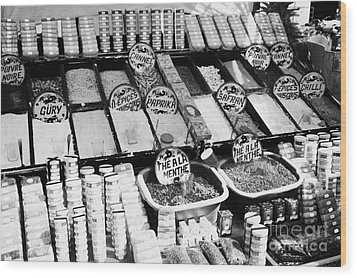 Large Range Of Various Spices Open And Packaged On A Stall At The Market In Nabeul Tunisia Wood Print by Joe Fox