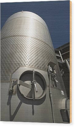 Large Steel Vat For Wine Making Wood Print by James Forte