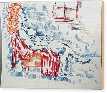 Wood Print featuring the pastel Large Women In A Small Orange Chair by Brian Sereda