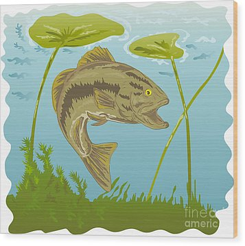 Largemouth Bass Jumping Wood Print by Aloysius Patrimonio