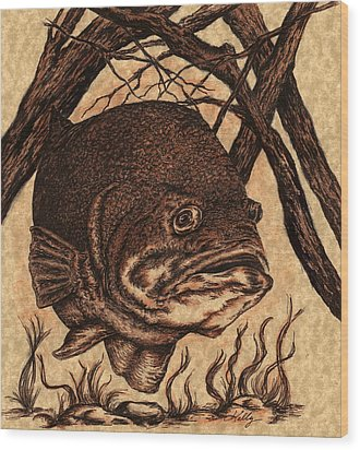 Largemouth Bass Wood Print by Kathleen Kelly Thompson