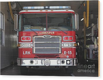 Larkspur Fire Department Fire Engine - Larkspur California - 5d18474 Wood Print by Wingsdomain Art and Photography