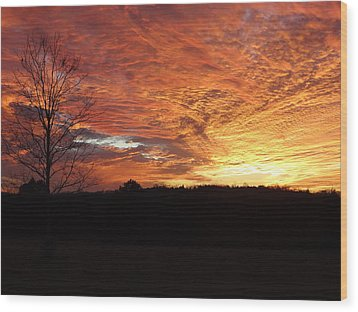 Wood Print featuring the painting Lascassas Sunset Four by Carol Berning