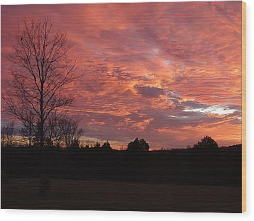 Wood Print featuring the painting Lascassas Sunset Three by Carol Berning