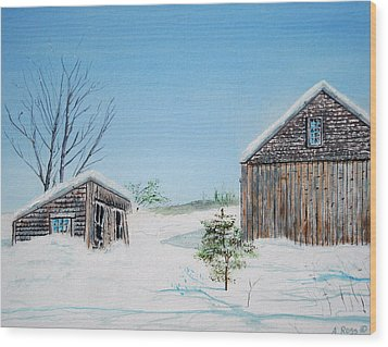 Last Barn In Winter Wood Print