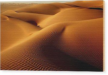 Last Light In The Ubari Sand Sea, Libyan Sahara Wood Print by Joe & Clair Carnegie / Libyan Soup