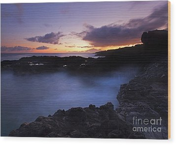 Last Light Over The South Shore Wood Print by Mike  Dawson