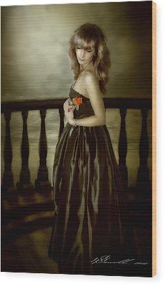 Last Red Rose Wood Print by Svetlana Sewell