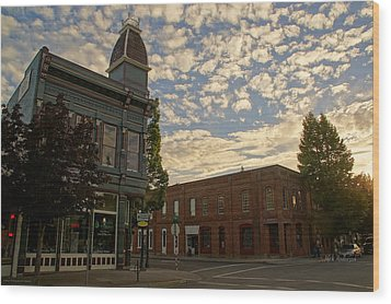 Late Afternoon At The Corner Of 5th And G Wood Print