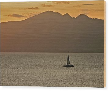 Late Afternoon Cruise In The Paniolo Channel Wood Print by Kirsten Giving