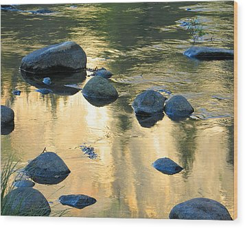 Late Afternoon Reflections In Merced River In Yosemite Valley Wood Print by Greg Matchick