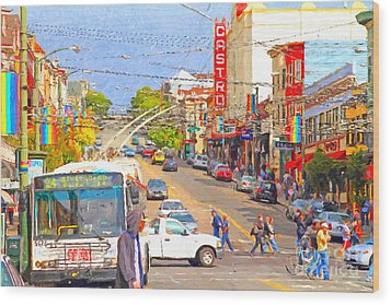 Late Morning Early Autumn In The Castro In San Francisco Wood Print by Wingsdomain Art and Photography