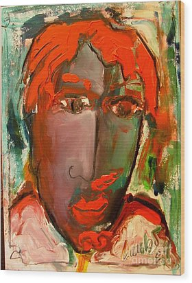 Laubar Face Adele Wood Print by Laurens  Barnard