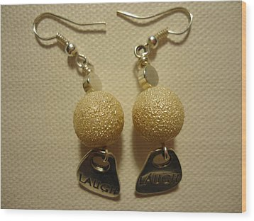 Laugh In Pearl Earrings Wood Print by Jenna Green