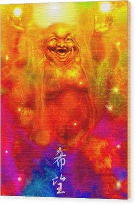 Laughing Buddha Wood Print by Konaa W